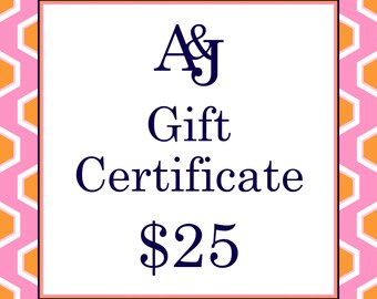 Gift Certificate 25 Dollars