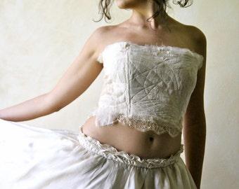 Wedding Crop Top, Boho Wedding Corset, Hippie wedding top, Beach wedding top, Corset bodice, Fairy top, silk top, bridal top, gypsy wedding