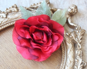 Cute silk   flower  with  clip back   1 piece listing red color
