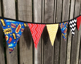 Superhero Bunting Flags Red Yellow Blue Comic book, Stars, Chevron