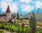 """Alsace Landscape SALE 10""""x10"""" acrylics on canvas original painting"""