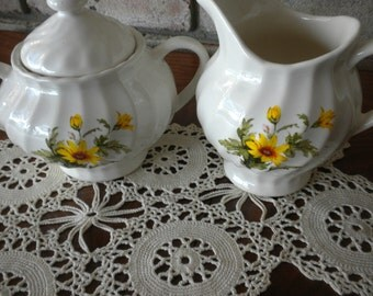 Vintage China Sugar Bowl, Creamer and Lid Tea Set