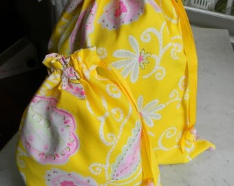 Pretty Simple Drawstring Project Bag Set - Yellow & Pink Leaves and Flowers