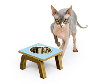 Ready to Ship! ~ Mid Century Modern Elevated Pet Feeder // Six Retro Colors // Cat & Dog Dishes