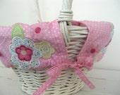 Small Easter Basket Liner -- Pink Dot Floral -- Free Monogram --