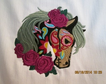 Womens White Levi's Denim Jacket-Large- Day of the Dead-Beautiful Horse