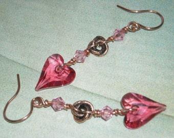 Swarovski Heart Earrings - Summer Romance - Valentines Sparkly Earrings Pink Dangle Earrings Wedding Jewelry Wild Heart Crystal Earrings