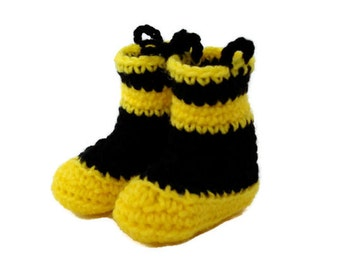 Fireman Boots Yellow and Black Crochet Baby Booties Shoes Size 3-6 Months