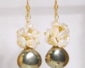 Grade AAA smooth pyrite and fresh water pearl dangle earrings, with vermeil ball pins and 14K gold filled ear wires