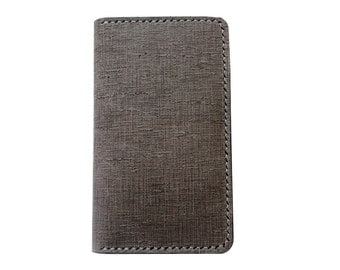 UNIQUE Grey leather iPhone wallet with a silicone case (Free Personalization)