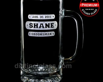 Gifts for Groomsmen - TRI-BAR WEDDING Beer Mugs for Best Man Ushers Father of the Bride Groom - Etched Glass, Distinct Glass Ships to Canada
