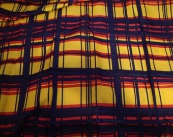 Vintage FABRIC Plaid Silk Check Yardage