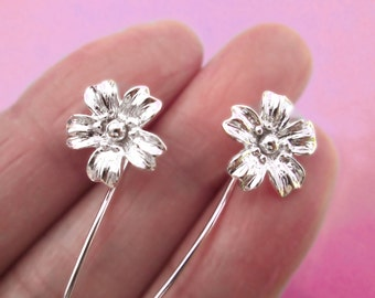 Cherry Blossom flower earrings sterling silver earrings jewelry dangle earrings cute small stud earrings long stem earrings Threader E-093