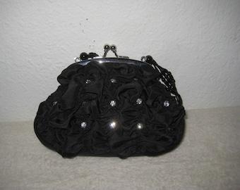 Black, vintage evening bag with rhinestones