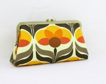 Autumn Flower Bridesmaid Clutch / Orange Wedding Clutch / Wedding Gift  - the Christine Style Clutch