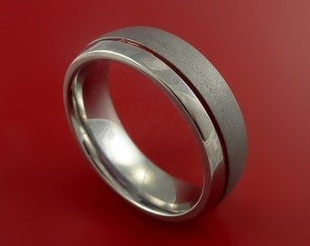 Titanium Band Custom Color Design Ring Any Size Band 3 to 22 Red, Blue, Green, Black Inlay