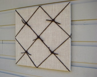 Country Chic Burlap Memo Board, Memory, Bulletin Board, pin or tack board, with 5 nautical knots