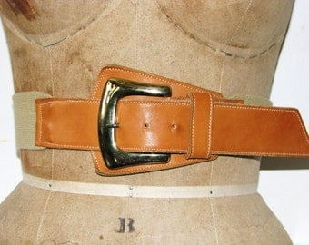 Vintage 1980s Large Leather Stretchy Asymmetrical Belt