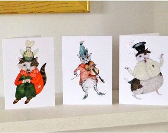 Cat Greeting Cards Three great cat cards 4x6 cat illustration