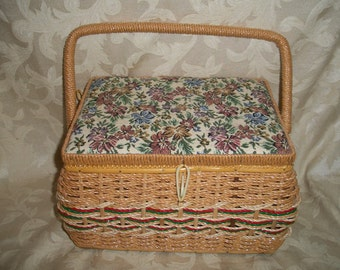 Vintage Sewing Basket Box Case