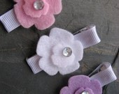 Clippies - Felt Flower Clippies - Hair Clips - Barrettes - Hairclips - Pink White and Violet (Set of 2)