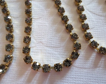 3mm Grey Rhinestone Chain - Brass Setting - Black Diamond Preciosa Czech Crystals
