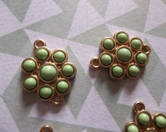 Jewelry Connectors - Gold and Lime Green Flower Charms with 2 Loops - 14mm - 4 pieces