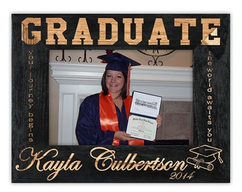 Personalized Graduation Frame-Graduation Gift-Your Journey Begins-Wood Engraved-Class of 2016-Graduation-Color Choice