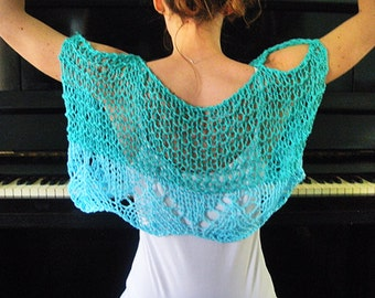 Turquoise Boho Shrug, Bolero Shrug, mini Sweater, Wedding Party shrug, Boho Beach Wedding, Fashion women, top, stole, Hippy fashion