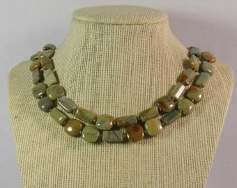 Green Silver Mist Jasper Double Stranded Necklace