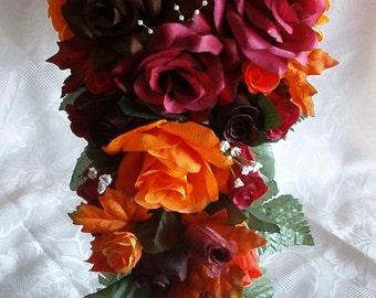 21pc Silk Wedding Flowers Bouquet Set FALL Colors Orange Brown Burgundy