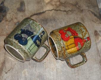 Vintage Olive Brown Speckled Mugs Cups Set of 2 Coffee Tea Wine Jug Grapes Tomato Motif Design Retro Dining Serving Dish Home Decor Kitchen