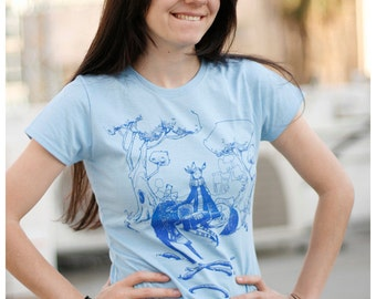 SALE blue forest lady t-shirt tshirt shirt lovely cute characters urban street tee XL