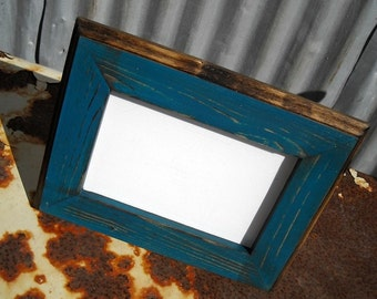 11 x 14 Picture Frame, Teal Rustic Weathered Style With Routed Edges, Rustic Home Decor, Wooden Frame, Rustic Wood Frame, Rustic Frames