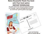 Printable DIY Retro Housewife Bridal Shower Thank You Card with Post Card Backing