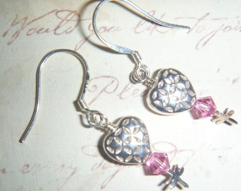 Sterling Silver hearts and pink crystal earrings with tiny dragonflies