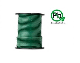 Round Leather Cord Dark Green 1mm 25meters Section