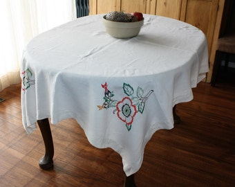 Linen Tablecloth Hand Embroidered Flowers Dogwood Wild Rose 50 x 65