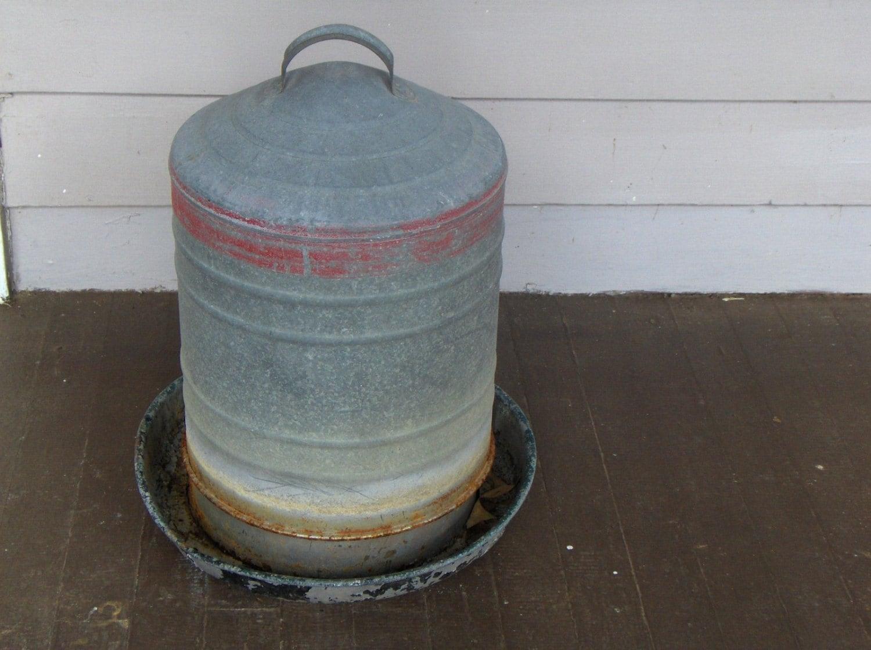 Old Vintage GALVANIZED CHICKEN Watering Can Feeder Barn Yard