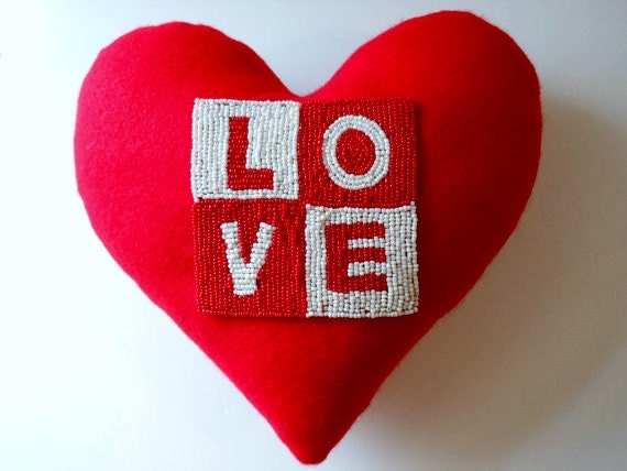 "Beautiful ""LOVE"" Handcrafted Heart Shaped Pillow * Beaded Pillow * Romantic * Dream  WEDDING"
