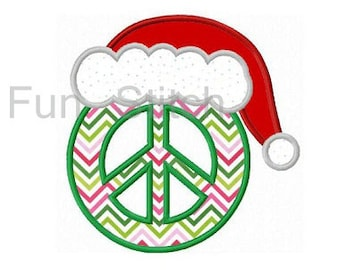 Christmas peace sign applique machine embroidery design