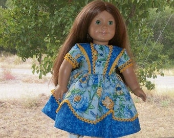 1850's Girls Blue Historical Dress with Vest Overlay with blue buttons for 18inch doll
