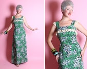 GORGEOUS 1940's Vibrant Hawaiian Plumeria Flower Novelty Print Long Hourglass Cotton Sun Dress Gown w Lace Trimmed Neckline - Tiki Oasis - L