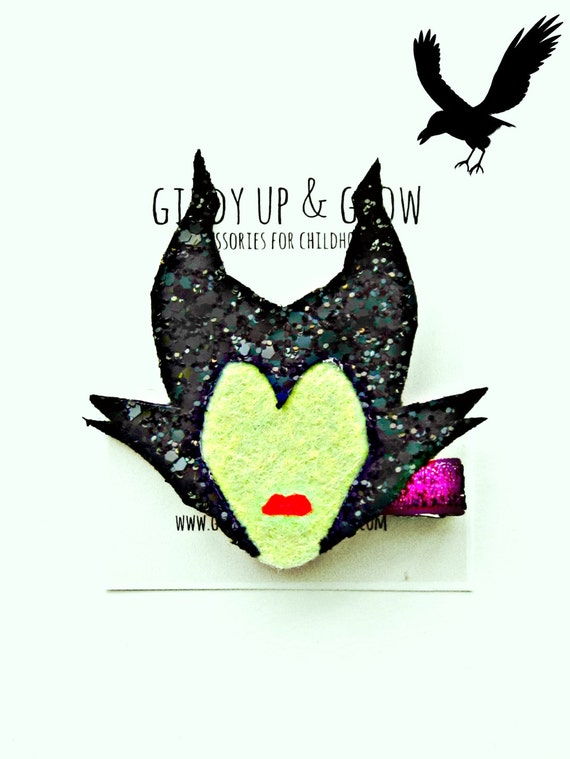 Maleficent Hair Clip - Glitter Hair Clip, Disney Inspired, Giddy Up and Grow