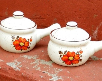 Retro Vintage Soup Crock Ovenware Orange Flowers Speckled