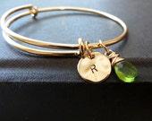 Personalized expandable bangle, initial bracelet, birthstone charm, gold adjustable bangle, family, frienship