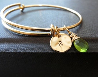 Initial birthstone bangle bracelet, personalized gold bangle, multiple initial bracelet, personalized jewelry