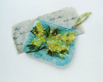 Wet Felted Spring flowers Golden Wattle Coin Purse, Pouch, Clutch, Makeup Bag, zipper, handmade, OOAK, Wet Felted   Ready to Ship