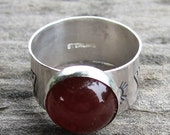Native American Inspired Carnelian Sterling Silver Ring - Size 7-1/2
