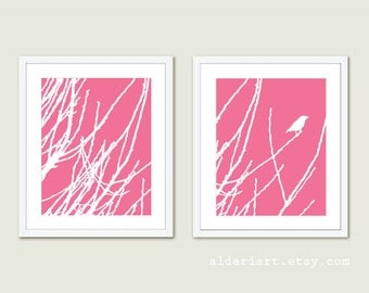 Bird on Twig Prints -  Set of Two - Pink And White - Modern Bird on Branches Wall Art - Spring Home Decor - Nature Wall Art